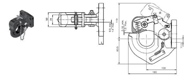 Hakenkupplung/ Natokupplung Rockinger 86x 45, 22kN