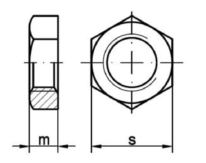 Sechskantmutter M6, flache Ausführung V2A, 1 Stk.