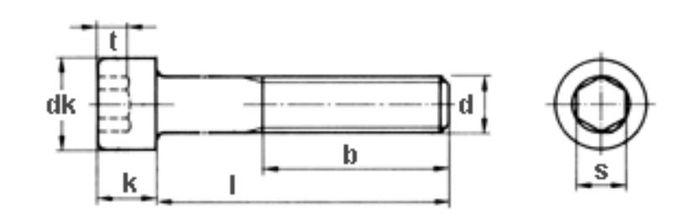 Innensechskantschraube M8x90, Güte 8. 8, vz, 300 Stk.
