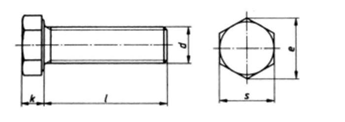 Sechskantschraube M10x55 Vollgewinde, Güte 8. 8, vz, 300 Stk.