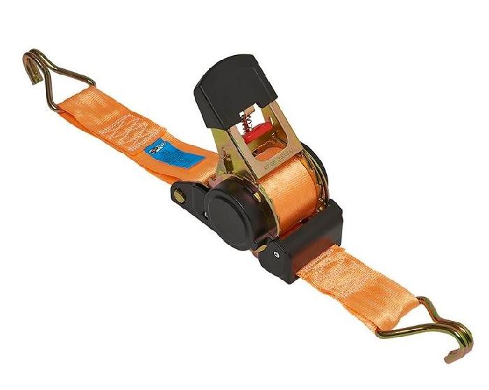Spanngurt mit Ratsche und Aufrollautomatik, 4,5m lang, 50mm breit, mit 2 Haken, 750kg