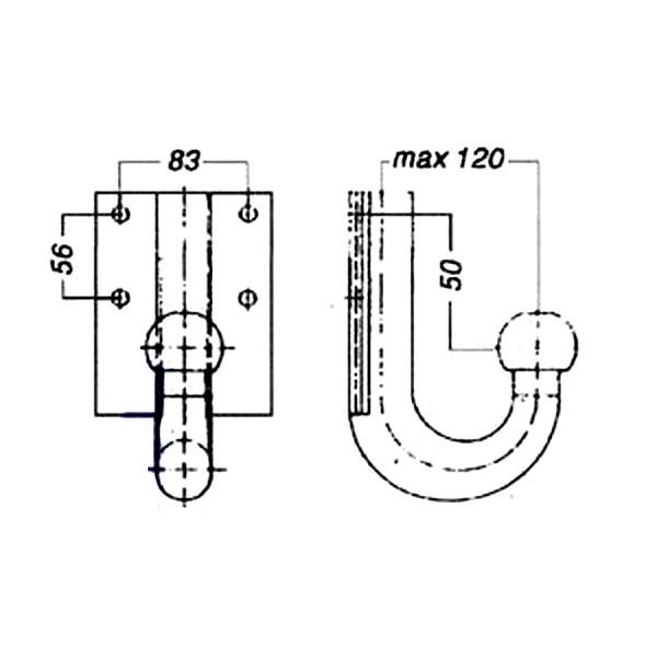 Kugelkopf- Flanschkugel-Kupplungskugel 4- Loch 50mm unter, 17,2kN