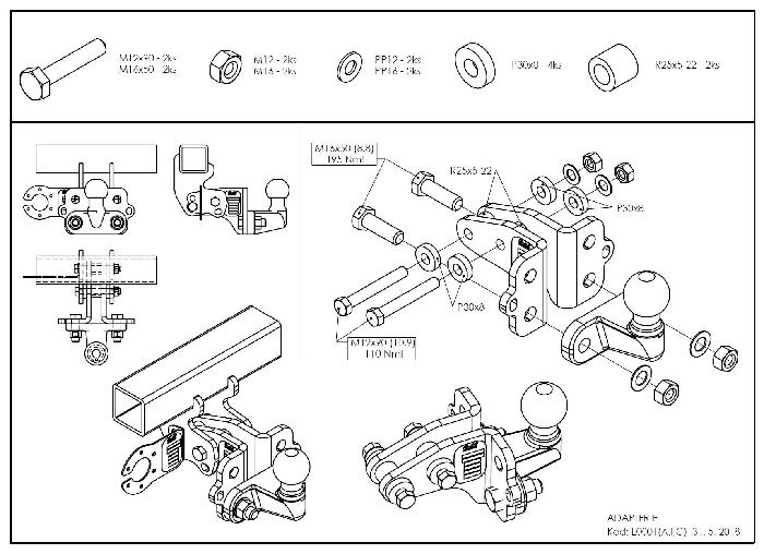 Kugelstange C0426I/C BOSStow Adaptersatz auf Flanschkugel höhenverstellbar