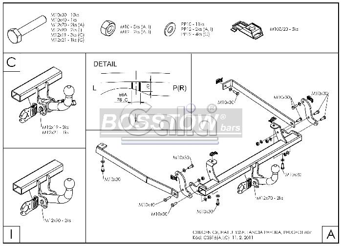 Anhängerkupplung starr Citroen C8 AHK starr 1126244 Elektrosatz ...