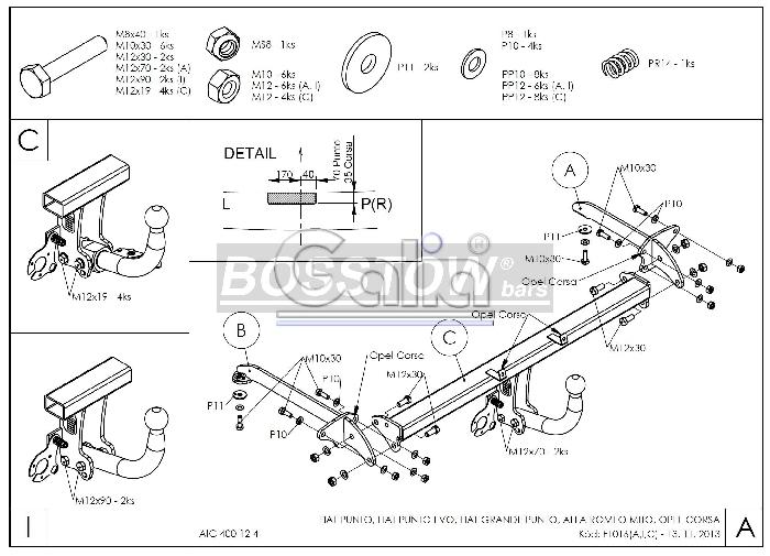 Anhängerkupplung Fiat-Punto Grande Punto, Baureihe 2009-2013 Ausf.:  feststehend
