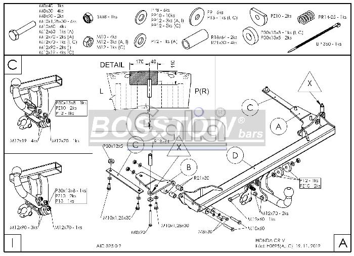 Anhängerkupplung Honda-CR-V, Baureihe 2012-2018  feststehend