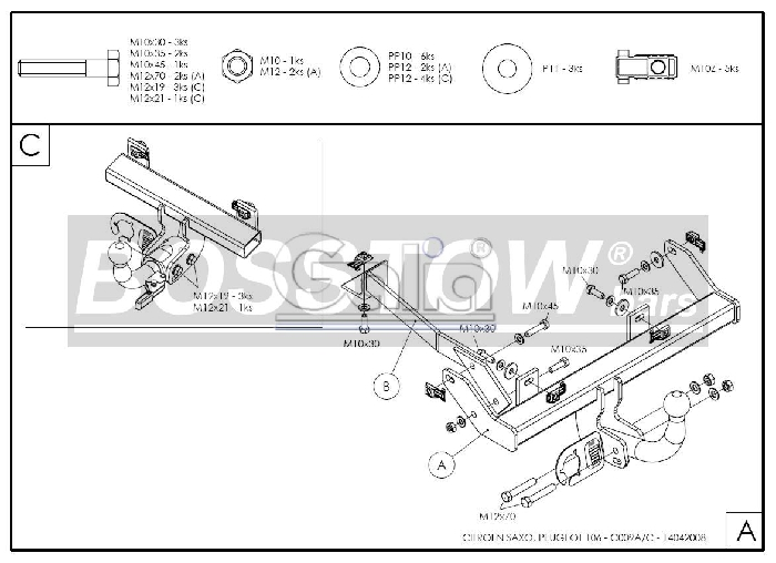 Anhängerkupplung Peugeot-106, Baureihe 1996-,  Ausf.:  feststehend