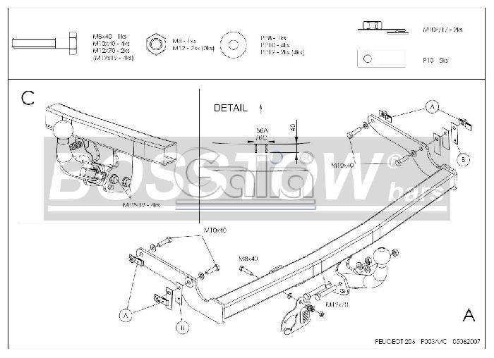 Anhängerkupplung Peugeot-206 Base, (nicht GTI, GT, XS, 16V, 206CC), Baureihe 1998-2003 Ausf.:  feststehend