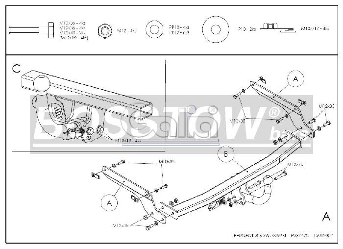 Anhängerkupplung Peugeot-206 Kombi, Baureihe 2002- Ausf.:  feststehend
