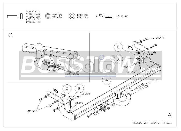Anhängerkupplung Peugeot-207 Cabrio, CC, Baureihe 2006- Ausf.:  feststehend