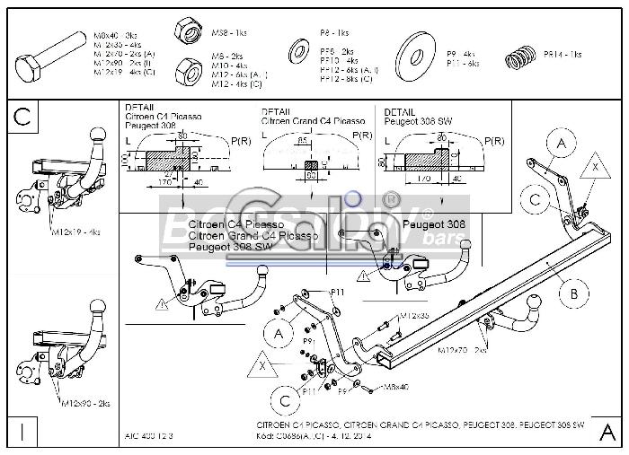 Anhängerkupplung Peugeot-308 Fließheck, Baureihe 2013- Ausf.:  feststehend