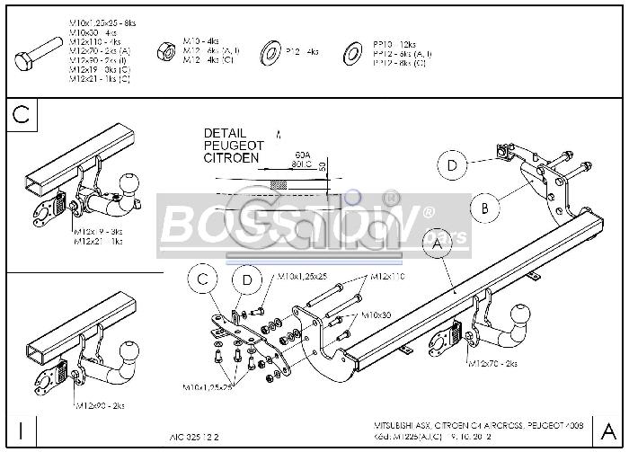 Anhängerkupplung Peugeot-4008, Baureihe 2012-,  Ausf.:  feststehend