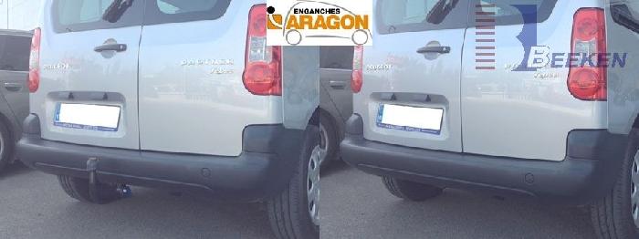 Anhängerkupplung Peugeot-Partner Kasten/ Bus/ Kombi, Gesamtlänge: 4380mm, Baureihe 2008-2018 Ausf.:  vertikal