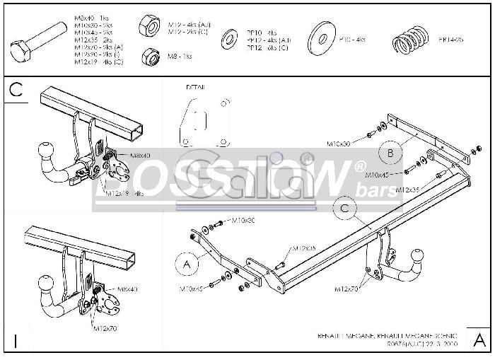 anh ngerkupplung feste f r renault megane flie heck 3 5. Black Bedroom Furniture Sets. Home Design Ideas