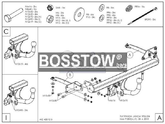 Anhängerkupplung für Fiat-Panda nicht 4x4, nicht Gasantrieb, bitte vorab Fzg. auf Anhängelastfreigabe prüfen, Baureihe 2012-  horizontal