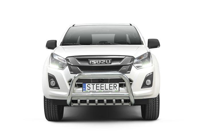 Frontschutzbügel Kuhfänger Bullfänger Isuzu D-Max Double Cab Version 2012-2017, Steelbar QRU 70mm