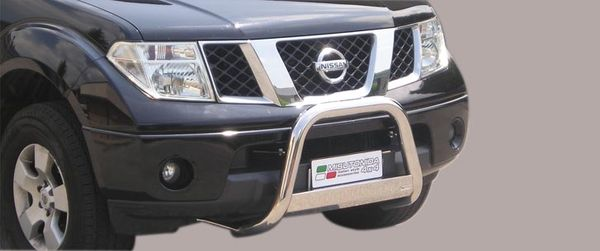 Frontschutzbügel Kuhfänger Bullfänger Nissan Navara King Cab 2005-, Medium Bar 63mm Edelstahl Omologato Inox