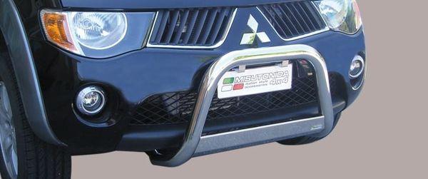 Frontschutzbügel Kuhfänger Bullfänger Mitsubishi L200 Club Cab 2006-2009, Medium Bar 63mm Edelstahl Omologato Inox