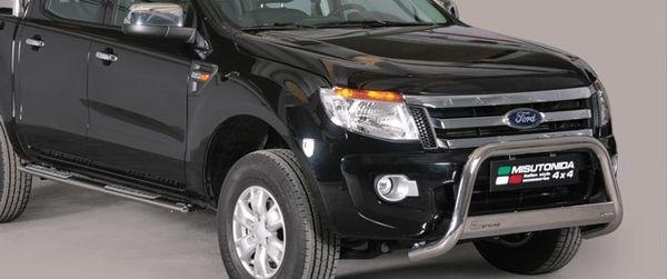 Frontschutzbügel Kuhfänger Bullfänger Ford Ranger 2012-2015, Medium Bar 63mm Edelstahl Omologato Inox