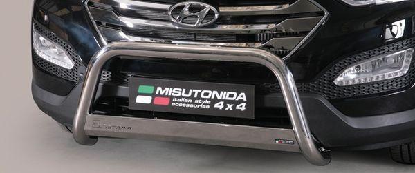 Frontschutzbügel Kuhfänger Bullfänger Hyundai Santa Fe 2012-2016, Medium Bar 63mm Edelstahl Omologato Inox