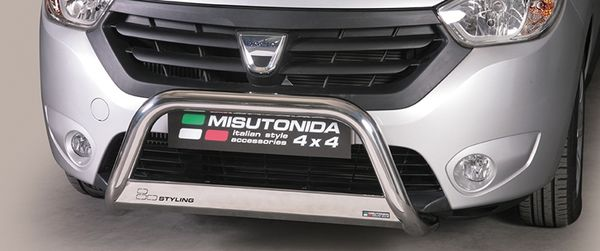 Frontschutzbügel Kuhfänger Bullfänger Dacia Dokker 2012-, Medium Bar 63mm Edelstahl Omologato Inox