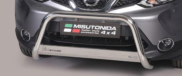 Frontschutzbügel Kuhfänger Bullfänger Nissan Qashqai 2013-2017, Medium Bar 63mm Edelstahl Omologato Inox