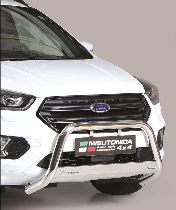 Frontschutzbügel Kuhfänger Bullfänger Ford Kuga 2017-, Medium Bar 63mm Edelstahl Omologato Inox