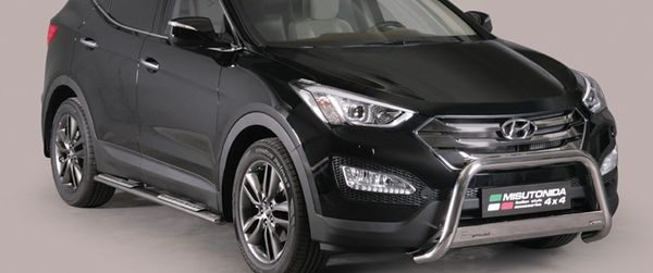 Frontschutzbügel Kuhfänger Bullfänger Hyundai Santa Fe 2012-2016, Medium Bar Mark 63mm Edelstahl Omologato Inox