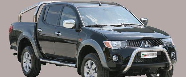 Frontschutzbügel Kuhfänger Bullfänger Mitsubishi L200 Club Cab 2006-2009, Super Bar 76mm Edelstahl Omologato Inox