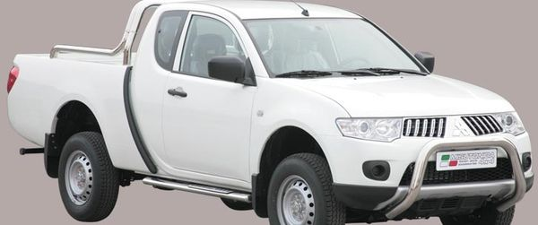 Frontschutzbügel Kuhfänger Bullfänger Mitsubishi L200 Double Cab 2010-2015, Super Bar 76mm Edelstahl Omologato Inox