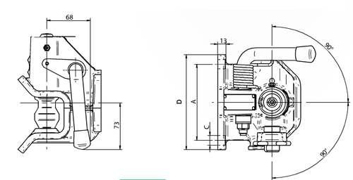 Maulkupplung Orlandi 120x 55, 30kN, f. Oese 40mm