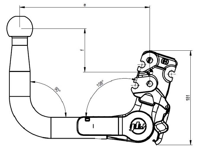 Kugelstange vertikal e 200 X f 82 X  mit Pin oben, D-value 14 X S-load 170 GDW 960.V0610_960-10