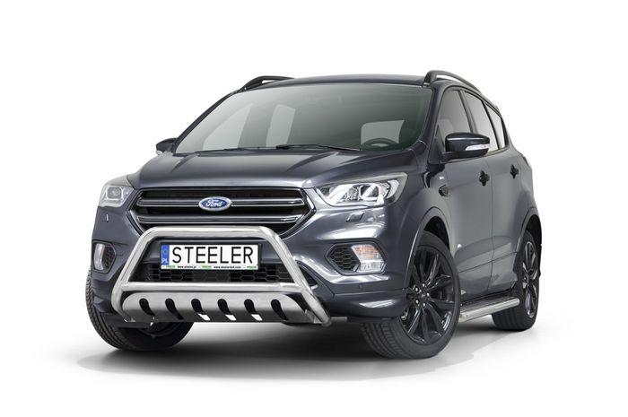 Frontschutzbügel Kuhfänger Bullfänger Ford Kuga 2017-, Steelbar QFU 60mm, schwarz beschichtet