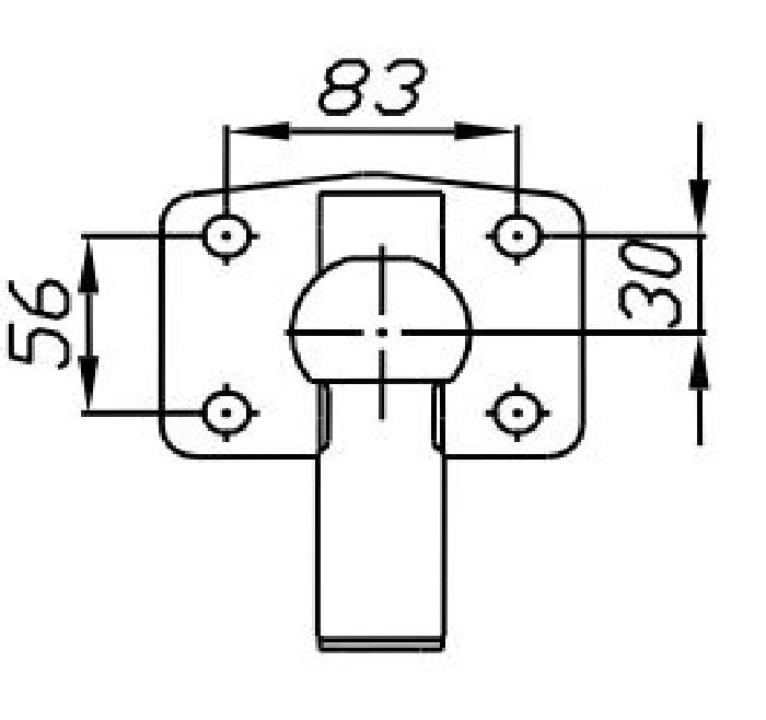 Kugelkopf- Flanschkugel-Kupplungskugel 4- Loch 30mm unter, 23,5kN