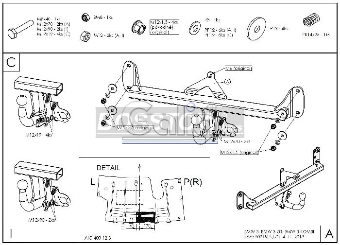 Anhängerkupplung für BMW-3er Touring F31, Baureihe 2012-2014  horizontal