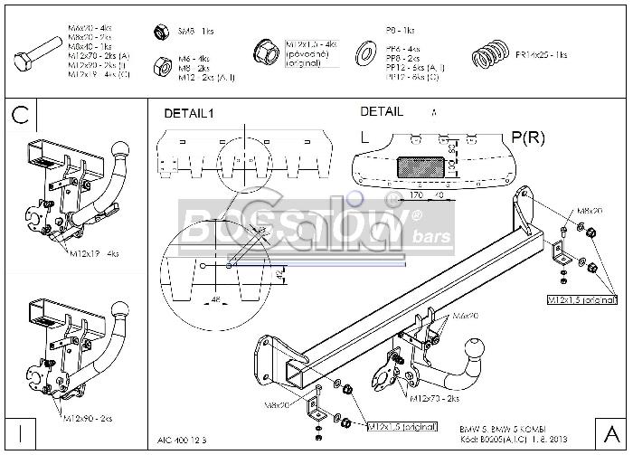 Anhängerkupplung abnehmbar BMW 5er Touring F11 AHK abnehmbar 1139416 ...