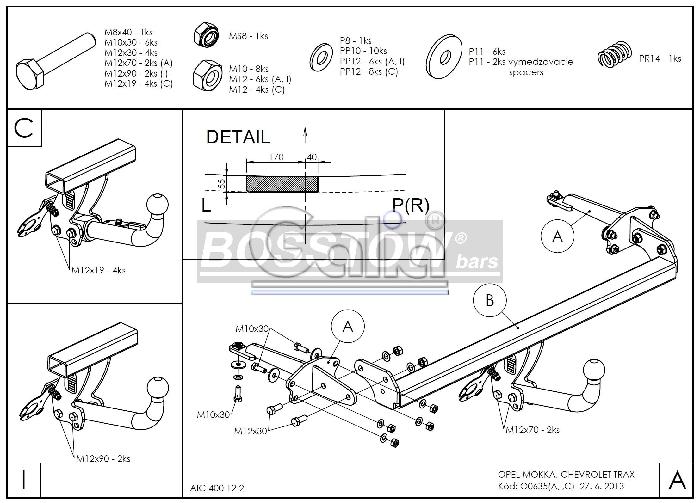Anhängerkupplung für Chevrolet-Trax, Baureihe 2013-  horizontal