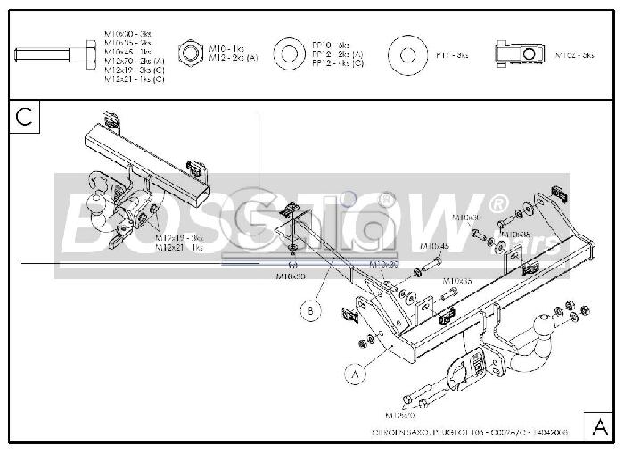 Anhängerkupplung Citroen Saxo, Baureihe 1996-  horizontal