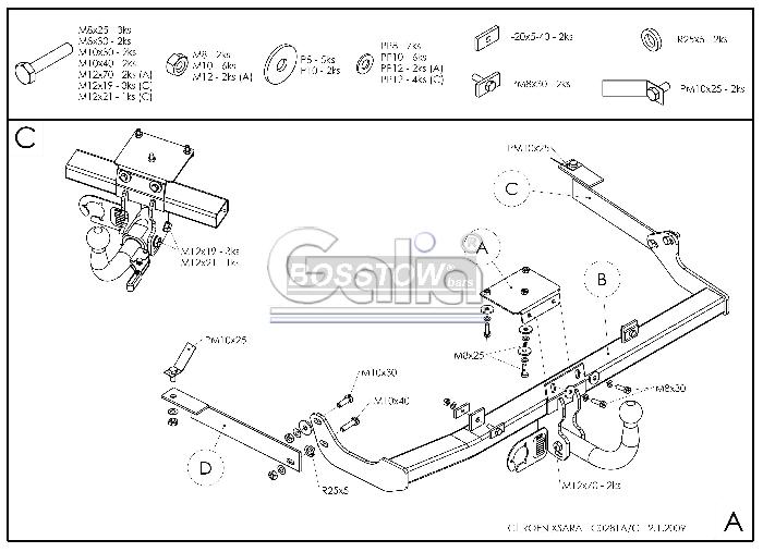 Anhängerkupplung Citroen Xsara 3 u. 5 türig, Baureihe 2000-  horizontal