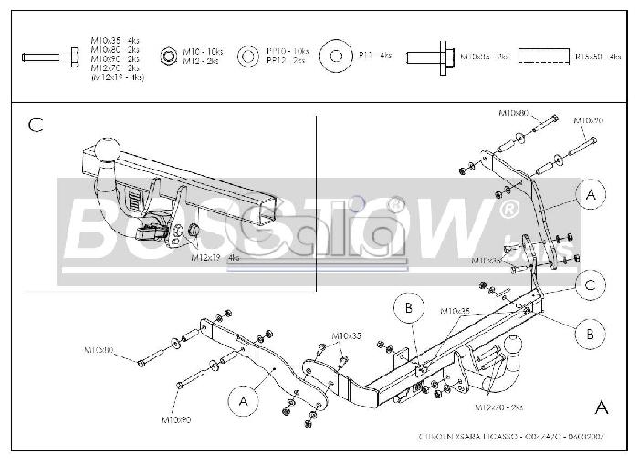 Anhängerkupplung für Citroen-Xsara Picasso, Baureihe 1999-2004  horizontal