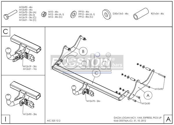 Anhängerkupplung Dacia Logan Pick-Up, Baureihe 2008-2012  horizontal