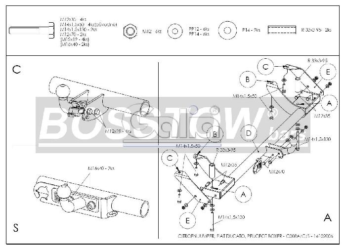 Anhängerkupplung für Fiat-Ducato Kasten/ Bus/ Kombi 2 WD, Baureihe 1994-2002  horizontal