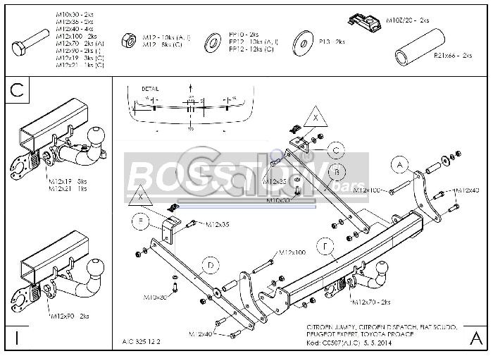Anhängerkupplung Fiat Scudo Kasten/ Bus/ Kombi, Fzg. mit Niveauregulierung, spez. auch mit Einparksensoren- PDC, Baureihe 2007-  horizontal