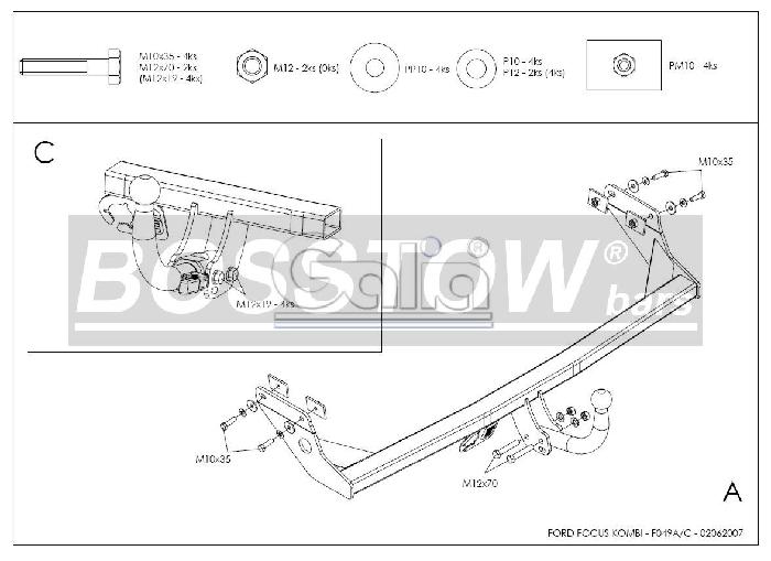 Anhängerkupplung für Ford-Focus Kombi, nicht RS, Baureihe 1998-2003  horizontal