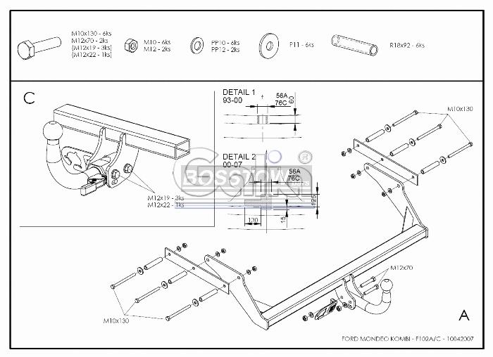 Anhängerkupplung für Ford-Mondeo Turnier, ohne Niveauregulierung, nicht, 4x4, nicht RS,ST, nicht Titanium, Baureihe 2000-2007  horizontal