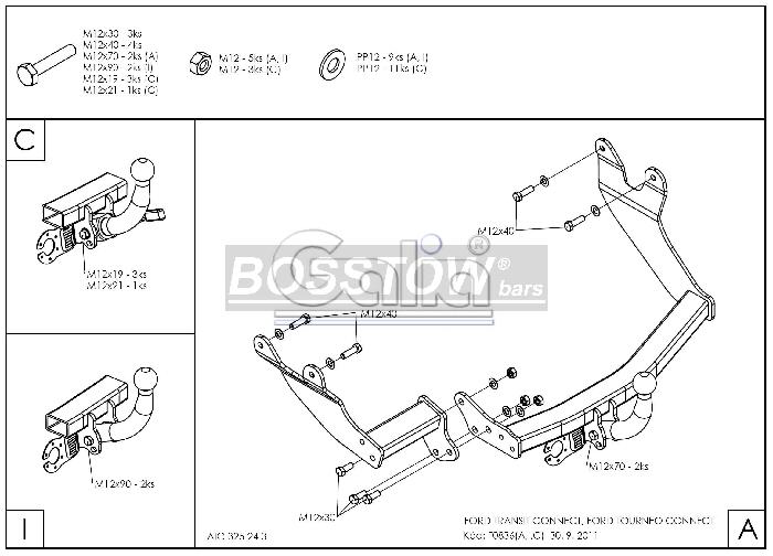 Anhängerkupplung Ford Tourneo Connect langer u. kurzer Radstand, Baureihe 2002-2013  horizontal