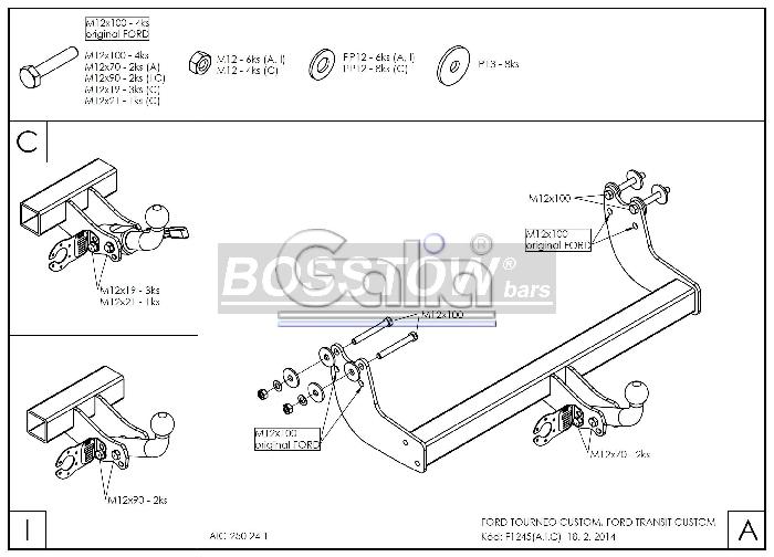 Anhängerkupplung Ford Tourneo Custom f. Fzg. ohne Elektrosatz Vorbereitung, Baureihe 2016-2019  horizontal
