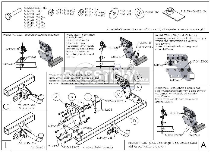 Anhängerkupplung abnehmbar Mitsubishi L200 2WD AHK abnehmbar 1127645 ...