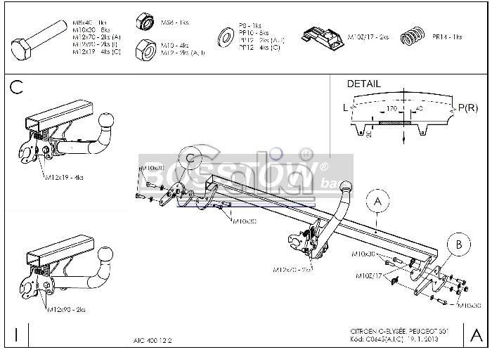 Anhängerkupplung Peugeot-301 Limousine, Baureihe 2012- Ausf.:  horizontal