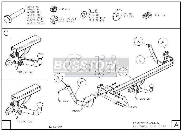 Anhängerkupplung Peugeot-508 Kombi, nicht GT, Baureihe 2011-2018 Ausf.:  horizontal